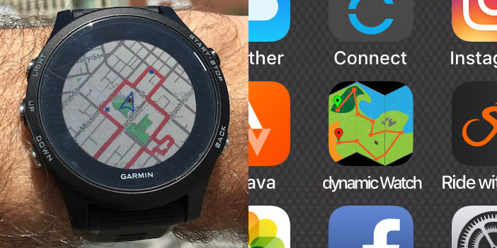 dwMap routeCourse for Garmin GPS watch and Edge | dynamicWatch